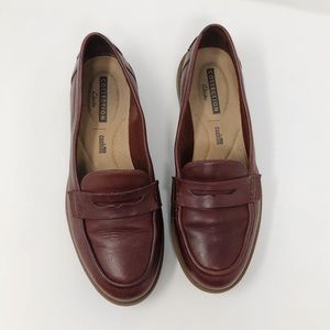 Clarks Burgundy Leather Comfort Loafers 8